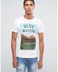 Camiseta con Cuello Circular Estampada Blanca de Esprit