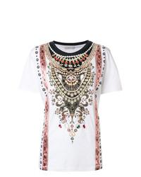 Camiseta con cuello circular estampada blanca de Etro