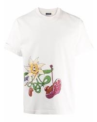 Camiseta con cuello circular estampada blanca de Jacquemus