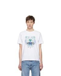 Camiseta con cuello circular estampada blanca de Kenzo