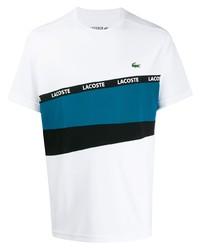 Camiseta con cuello circular estampada blanca de Lacoste