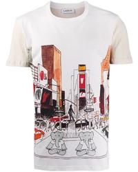 Camiseta con cuello circular estampada blanca de Lanvin
