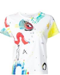 Camiseta con cuello circular estampada blanca de Marc Jacobs