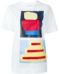 Camiseta con cuello circular estampada blanca de Marni