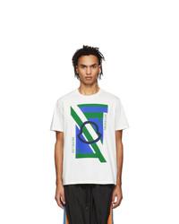 Camiseta con cuello circular estampada blanca de Moncler Genius