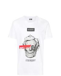 Camiseta con cuello circular estampada blanca de Newams