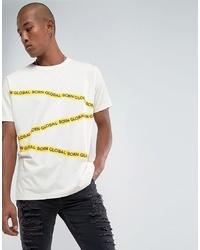 Camiseta con cuello circular estampada blanca de Night Addict