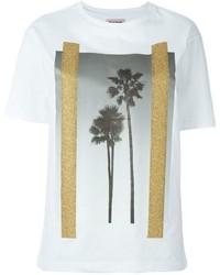 Camiseta con cuello circular estampada blanca de Palm Angels