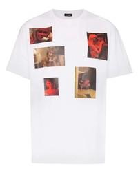 Camiseta con cuello circular estampada blanca de Raf Simons