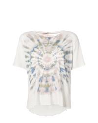 Camiseta con cuello circular estampada blanca de Raquel Allegra