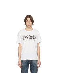 Camiseta con cuello circular estampada blanca de Saint Laurent