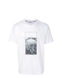 Camiseta con cuello circular estampada blanca de Stone Island