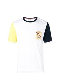 Camiseta con cuello circular estampada blanca de Thom Browne