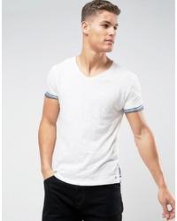 Camiseta con cuello circular estampada blanca de Tom Tailor