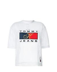 Camiseta con cuello circular estampada blanca de Tommy Jeans