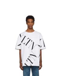 Camiseta con cuello circular estampada blanca de Valentino