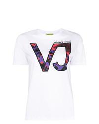 Camiseta con cuello circular estampada blanca de Versace Jeans