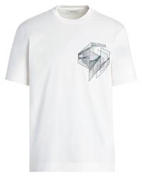 Camiseta con cuello circular estampada blanca de Z Zegna