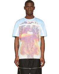 Camiseta con cuello circular estampada celeste