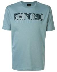 Camiseta con cuello circular estampada celeste de Emporio Armani