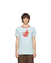 Camiseta con cuello circular estampada celeste de Lanvin