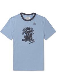 Camiseta con cuello circular estampada celeste de Maison Margiela