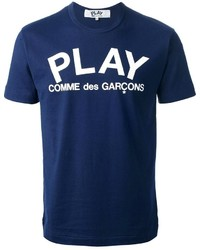 Camiseta con cuello circular estampada en azul marino y blanco