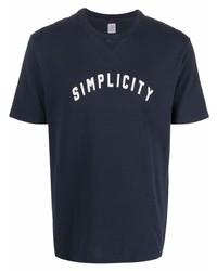 Camiseta con cuello circular estampada en azul marino y blanco de Eleventy