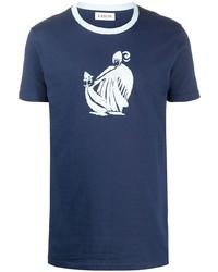 Camiseta con cuello circular estampada en azul marino y blanco de Lanvin