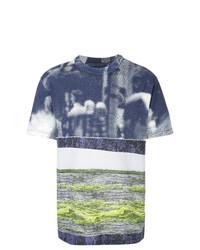 Camiseta con cuello circular estampada en azul marino y blanco de Maison Margiela