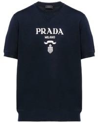 Camiseta con cuello circular estampada en azul marino y blanco de Prada