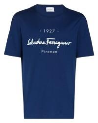 Camiseta con cuello circular estampada en azul marino y blanco de Salvatore Ferragamo