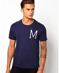 Camiseta con cuello circular estampada en azul marino y blanco de Selected