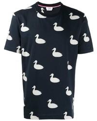 Camiseta con cuello circular estampada en azul marino y blanco de Thom Browne