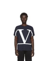 Camiseta con cuello circular estampada en azul marino y blanco de Valentino