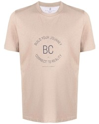 Camiseta con cuello circular estampada en beige de Brunello Cucinelli