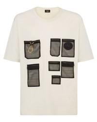 Camiseta con cuello circular estampada en beige de Fendi