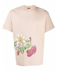 Camiseta con cuello circular estampada en beige de Jacquemus