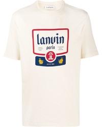 Camiseta con cuello circular estampada en beige de Lanvin