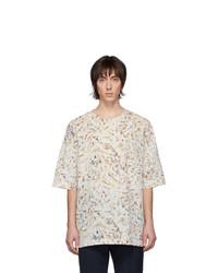 Camiseta con cuello circular estampada en beige de Lemaire
