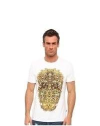 Camiseta con cuello circular estampada en blanco y amarillo