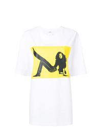 Camiseta con cuello circular estampada en blanco y amarillo de Calvin Klein Jeans Est. 1978