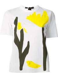 Camiseta con cuello circular estampada en blanco y amarillo de Marni