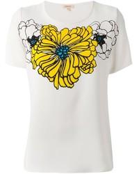 Camiseta con cuello circular estampada en blanco y amarillo de P.A.R.O.S.H.