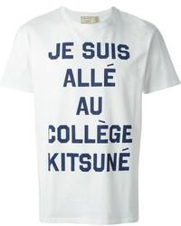 Camiseta con cuello circular estampada en blanco y azul marino