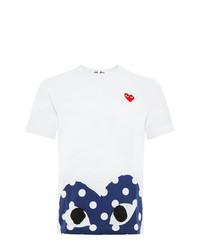 Camiseta con cuello circular estampada en blanco y azul marino de Comme Des Garcons Play