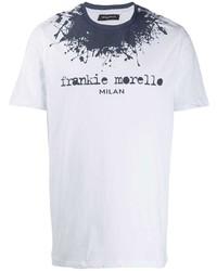 Camiseta con cuello circular estampada en blanco y azul marino de Frankie Morello