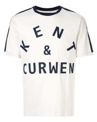 Camiseta con cuello circular estampada en blanco y azul marino de Kent & Curwen