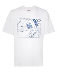 Camiseta con cuello circular estampada en blanco y azul marino de Koché