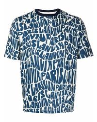 Camiseta con cuello circular estampada en blanco y azul marino de Lanvin
